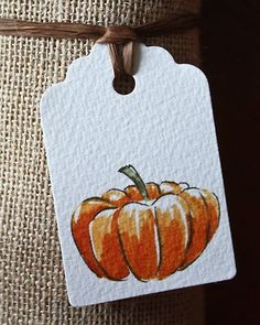 Love this tag and vignette.the textured paper, the watercolor pumpkin, the brown raffia string and the burlap wrap. Watercolor Cards, Watercolor Paintings, Watercolors, Fall Cards, Fall Halloween, Halloween Labels, Scary Halloween, Painting & Drawing, Gift Tags
