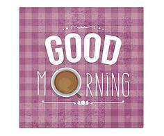 Placa Decorativa Good Morning Coffe - 20x20cm