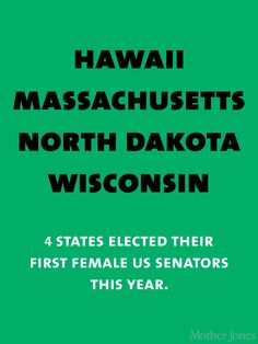 Hawaii, Massachusetts, North Dakota, Wisconsin - 4 states elected their first female US Senators this year.