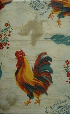 Oblong Vinyl /Flannel Backed Roosters Tablecloths Multi-color by Nantucket Easter Tablecloth, Roosters, Back Gardens, Tablecloths, Nantucket, Flannel, Home And Garden, Blue And White, Fine Art