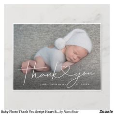 Baby Photo Thank You Script Heart Birth Announcement Postcard