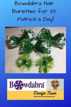 How to make a cute St. Patrick's Day hair barrette and bow DIY hair barrette and bow using Diy Hair Bows, Diy Bow, Hair Bow Tutorial, Green Glitter, Hair Barrettes, Craft Tutorials, Craft Ideas, How To Make Bows, Graduation Gifts