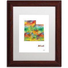 Trademark Fine Art Utah State Map-1 inch Canvas Art by Marlene Watson, White Matte, Wood Frame, Size: 16 x 20, Brown