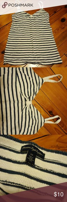 AE tank Casual nautical tank in great condition, navy blue and white with a low sweetheart neckline. American Eagle Outfitters Tops Tank Tops