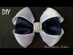 Бантик из ленты Канзаши DIY Kanzashi bow of ribbon Curva da fita Baugen av bånd Nœud de ruban - YouTube