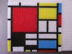 Mondrian design Hama perler beads by Sebastien Herpin Easy Perler Bead Patterns, Melty Bead Patterns, Perler Bead Templates, Beading Patterns, Hama Beads Coasters, Diy Perler Beads, Pixel Art, Art Perle, Motifs Perler
