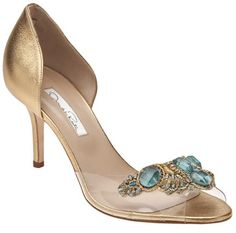 Oscar de la Renta Gold Evening Open shoes www.finditforweddings.com
