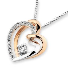 18K Rose & White Gold Heart Shape Solitaire Diamond Pendant W/925 Sterling Silver Chain (0.24ct,G-H Color,SI1-SI2 Clarity)