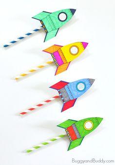 Kidissimo: Facile : avec une paille, fabriquer soi-même un lanceur de fusée. Dès 3/4 ans et bien au-delà.