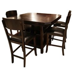 CROWN MARK CONNER MERLOT PUB TABLE & 4 STOOLS Gallery Furniture
