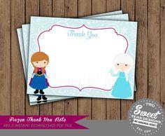 Frozen Thank You Card Note Invitation Birthday Party Princess Anna Princess Elsa Olaf on Etsy, $11.38 CAD