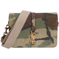 19fafba229 SAINT LAURENT Monogram Camouflage Suede Shoulder Bag - Military Green  ( 1