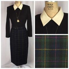 Vintage Tartan Plaid Dress with Peter Pan Collar Belt Size 8   eBay