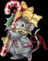 Alfabeto tintineante de ratoncito en Navidad.