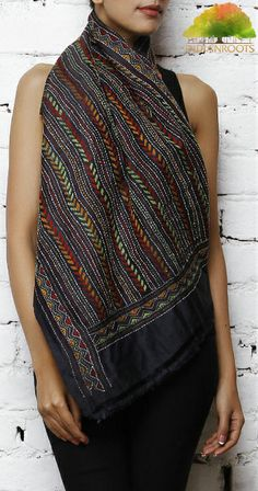 #Black Tussar and Muga #Silk #Stole with Kantha by Maple Tree at Indianroots.com #India