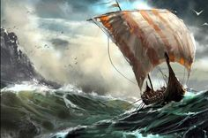 AMoutletstore vikings on hard journey boat ocean sail Thomas Kindade Giclee Modern oil painting print on canvas wall decoration Art Viking, Viking Life, Viking Warrior, Valhalla Viking, Vikings Art, Norse Vikings, Real Vikings, Viking Longboat, Erik The Red