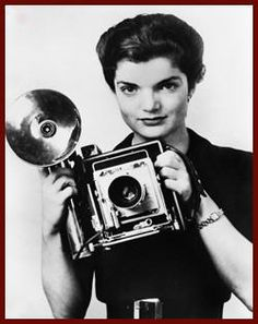 """JACQUELINE BOUVIER and her Speed Graphic camera, in 1951 when she worked (as the """"Inquiring Photographer"""" and """"Inquiring Camera Girl"""") for the Washington Times Herald newspaper!"""