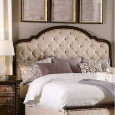 Need to Buy Leesburg Upholstered Panel Bed - Hooker Furniture Wingback Headboard, Wood Headboard, Queen Headboard, Panel Headboard, Fabric Headboards, Upholstered Beds, Panel Bed, Hooker Furniture, Bedroom Furniture