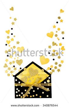 Valentine envelope with lots of gold hearts and place for text - stock photo