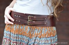 Classic hand made wide leather belt womens