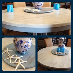 CeCe Caldwell's Dover white and Chesapeake Blue create a fun beach theme in your dining room!