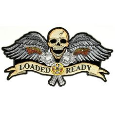 GBP - Loaded & Ready Skull Wings Outlaw Biker Rider Big Embroidered Back Patch Custom Patches, Sew On Patches, Iron On Patches, Iron On Embroidered Patches, Iron On Applique, Biker Patches, Skull Patches, Sew On Badges, Art Background