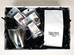 Recharge Gift Box available from www.lilou.co.za   Lilou Online Gift Shopping   Whole roasted coffee beans, double walled glass mug and three chocolate covered confections.