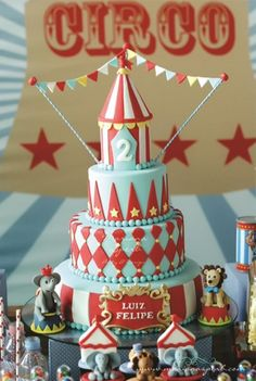 This vintage circus cake would be an impressive addition to any party! #SocialCircus