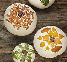Fall decorations. Painted pumpkins.