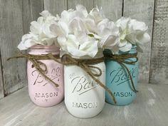 Shabby Chic MASON JARS Painted Mason Jars Mason by BowtiqueBurlap