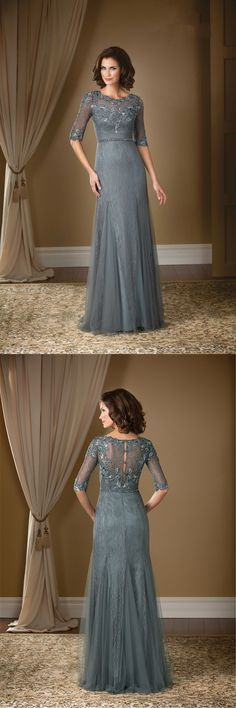 Mother Of The Bride Dresses 2016 Half Sleeves Gray Lace Sheer Neck Column Sheath Long Formal Gowns For Groom Mother Tulle Cheap