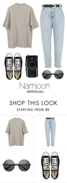 """Disneyland with Namjoon"" by btsoutfits ❤ liked on Polyvore featuring River Island, MLC Eyewear and Converse"
