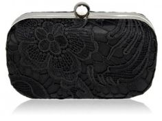 A classic style black lace hard case box evening clutch bag with silver frame and top closure.  Black lace to both sides of the bag.  Black satin lining and internal pocket.  2 detachable silver link chains measuring 40cm and 120cm.  Size (cm): 16 wide x 11 high x 5 deep Black Clutch Bags, Clutch Purse, Coin Purse, Fashion Jewellery Online, Trendy Fashion Jewelry, Black Laces, Evening Bags, Purses, Wedding Jacket