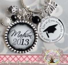 Graduation Gifts for Her 2016 or 2017 Personalized Black White Grad Keychain, Year of Choice, Inspirational Quote * Insider's special review you can't miss. Read more  : Handmade Gifts