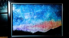 Night Sky Drawing-First Try With Watercolor Night Sky Drawing, Night Skies, Art Drawings, Watercolor, Facebook, Painting, Instagram, Pen And Wash, Watercolor Painting