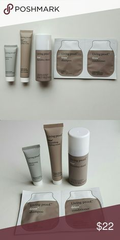 Travel-size Living Proof Set Set includes (1) Humidity Shield Finishing Hairspray 1.8 oz, (1) Nourishing Style Cream 1 oz, (1) Full Thickening Cream 0.5 oz, (1) Shampoo 0.33 oz, and (1) Conditioner 0.33 oz. These have never been used! Would love to try these, but I have far too much hair product right now that never gets used! Living Proof Makeup