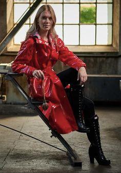 Red Raincoat, Vinyl Raincoat, Plastic Raincoat, Rainy Day Fashion, Hooded Cloak, Rain Gear, Latex Dress, Raincoats For Women, Rain Boots