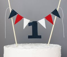 1 Year Old Cake Topper Banner, Red, White and Navy Blue First Birthday Boy Cake Bunting, Number One Cake Sign