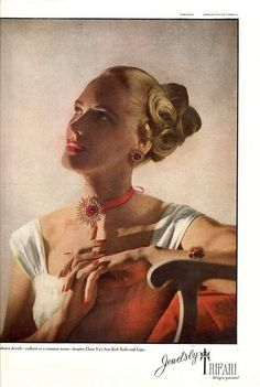 1946 - TRIFARI - ADS - Sunburst Jewels - radiant as a summer noon - inspire Chen Yu's Sun Red Nails and Lips