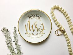 Mrs. Ring Dish Jewelry Dish Trinket Dish Wedding Ring Dish