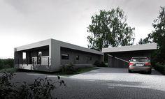 by-house, house on a slope, bydgoszcz Tamizo Architects, Architecture Design, Villa, House Design, Outdoor Decor, Facades, Home Decor, Houses, Interior Design