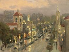 """""""Plaza Lights, Kansas City""""  ...The most memorable place in Kansas City must be the Country Club Plaza with its old world architecture, you may gave a hard time distinguishing this famous shopping and entertainment neighborhood from similar districts in Barcelona, Rome, or Lisbon.     — Thomas Kinkade.  December 1998"""
