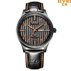27.59$  Watch now - http://alib9a.shopchina.info/go.php?t=32632292067 - Luxury EYKI Brand Genuine Leather Strap Casual Quartz Watches Men Military Calenday Noctilucent Sport  Wristwatch relojes hombre 27.59$ #bestbuy