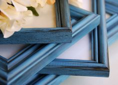 Rustic chic photo frames: Set of 5 vintage antique blue hand-painted decorative wooden wall collage gallery picture frames for the home by JaBellaDesigns on Etsy https://www.etsy.com/listing/208792497/rustic-chic-photo-frames-set-of-5