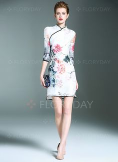 Dresses - $106.15 - Silk Floral Half Sleeve Above Knee Vintage Dresses (1955097087)