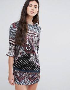 Buy it now. Madam Rage Paisley Shift Dress - Multi. Casual dress by Madam Rage, Woven fabric, Round neck, Printed design, Ruffle cuffs, Regular fit - true to size, Machine wash, 100% Polyester, Our model wears a UK 8/EU 36/US 4 and is 180cm/5'11 tall. , vestidoinformal, casual, camiseta, playeros, informales, túnica, estilocamiseta, camisola, vestidodealgodón, vestidosdealgodón, verano, informal, playa, playero, capa, capas, vestidobabydoll, camisole, túnica, shift, pleat, pleated, drape,...