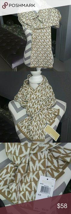 Michael Kors logo scarf NWT SMOKE FREE/PET FREE CLOSET  Brand new with tags  Michael Kors tan and cream logo scarf. Chic and classy. Add this beauty to your collection or make it a thoughtful gift for someone you care about. 100%authentic  *matching headband and hat available in my closet*  🎈check out my closet for more MK accessories🎈   💖Shop with confidence💖💖 🎉🎊Suggested User🎊🎉 📮💌Same day shipping📮💌 5🌟🌟🌟🌟🌟 star rated closet 👍👍Top seller👍👍 Michael Kors Accessories…