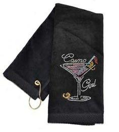 Crystal Cosmo Girl Black Terry Cloth Golf Towel by Navika.  Buy it @ ReadyGolf.com