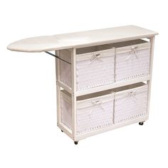 Laundry Ironing Station with Four Large Baskets (White) (Wood)