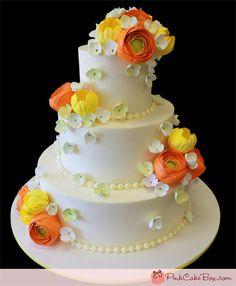 White Wedding Flower Cake by Pink Cake Box